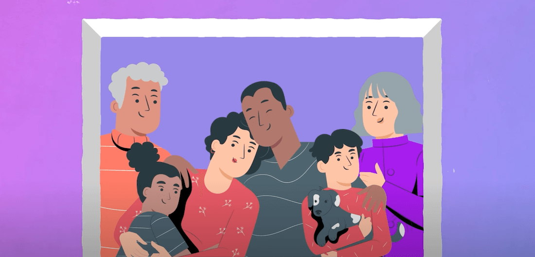 Animation Of Family Hugging