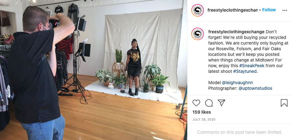 Photographer Taking Picture Of Person Standing In Front Of A White Backdrop Inside An Instagram Post