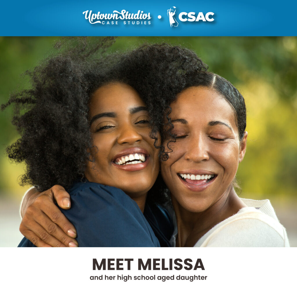 Brand Persona Of Mother And Daughter Hugging Smiling With CSAC And Uptown Studios Logos On Top